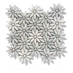 "12""x12"" Carrara and Thassos White Marble Flower Polished Mosaic Tiles, Design 45"