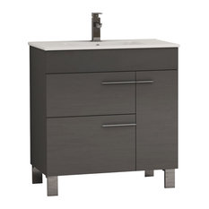 Eviva Cup 31.5-inch Grey Modern Bathroom Vanity With White Integrated Porcelain Sink