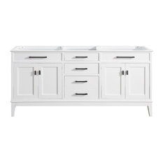 "Madison 72"" Double Sink Vanity Only, White Finish"
