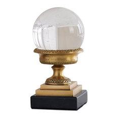 Petite Hollywood Regency Brass Urn with Crystal Sphere Sculpture