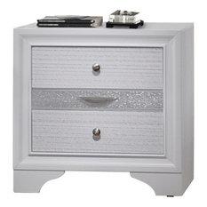Stylish 3 Drawers Wood Nightstand By Naima  White