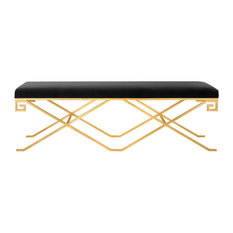 Safavieh Talita Velvet Bench, Black, Gold Leaf