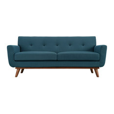 LexMod - Engage Upholstered Fabric Loveseat, Azure - Loveseats