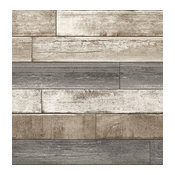 Weathered Wood Plank Wallpaper, Gray/Taupe/White, Bolt