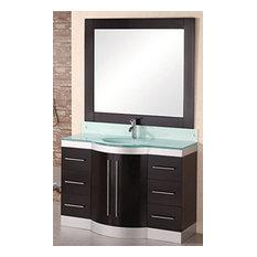 """Jade 48"""" Single Sink Vanity Set, Espresso, Glass Top"""