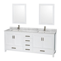 "Sheffield Double Vanity, 24"" Mirrors, White, 80"", Square, White Carrera Marble"