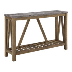Farmhouse Console Table MDF Construction With Slatted Bottom Shelf Concrete To