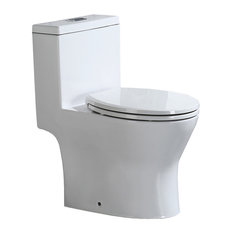 WoodBridge Short Compact One Piece Toilet With Soft Closing Seat