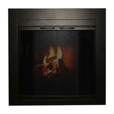Ironhaus Fremont Bifold Fireplace Door With Sliding Mesh Small Satin Black