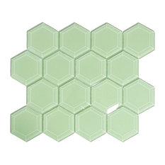 Surf Hexagon Beveled Glass Tile, Sample