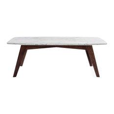 "Faura 18""x43.5"" Rectangular Italian Carrara White Marble Table with Walnut Legs"