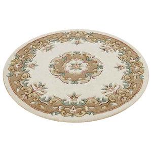 Mahal Round Rug, Cream and Beige, 120 cm Round