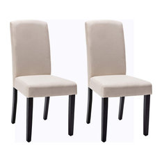 Modern Dining Chairs Sleek Armless Design With Polyester Upholstery Beige