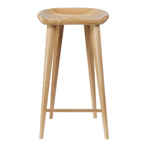 Tractor Contemporary Carved Wood Barstool - Natural Finish