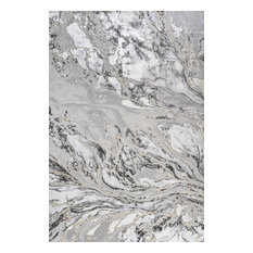 Swirl Marbled Abstract Gray/Black 8' x 10' Area Rug