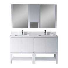 "Monaco 60"" Double Vanity Set With Mirror and Wall Cabinet, Matte White"