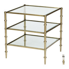Trivecta Accent Table, Antique Brass