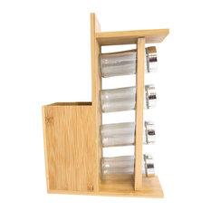 Bamboo Cutlery Holder, Spice Jar Set