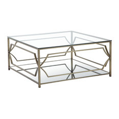 Pangea Home   Edward Square Coffee Table, Brass   Coffee Tables