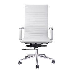 Perfect YesHom   Executive High Back Ribbed PU Leather Swivel Office Computer Desk  Chair White XL