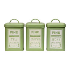 Premier Housewares Whitby Square Tea, Coffee and Sugar Canisters, Green