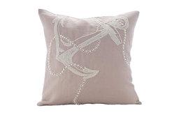 """Beige Beaded Anchor Design 26""""x26"""" Cotton Linen Euro Pillow Shams, Pearl Anchor"""
