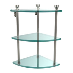 Triple Corner Glass Shelf, Polished Nickel