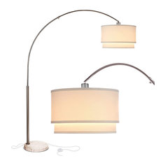 Brightech Mason - Arc Floor Lamp with Unique Hanging Drum Shade, Nickel