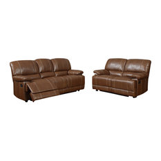 U9963 Brown Bonded Leather Three Piece Sofa Set With Built-in Recliners