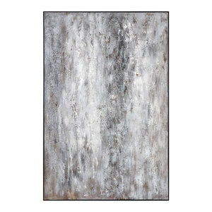 "Oversize 72"" Black White Gray Abstract Wall Art, Oil Painting Floor"