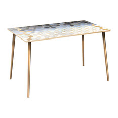 Brixton Flare Dining Table - Midnight Gold Deco