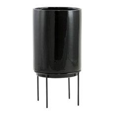 Aspire Home Accents Inc Jemina Midcentury Ceramic Planter Black Indoor Pots