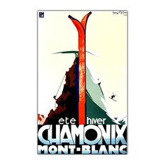 Chamonix Mont Blanc by Henry Reb Ski Poster Reprinted on Canvas