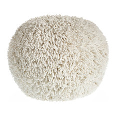 Glam Luxe Shaggy Tufted Sphere Pouf, Off White Beige Ball Round Plush Ottoman