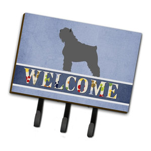Easter Eggs Bouvier Des Flandres Leash Key Holder Contemporary Wall Hooks By The Store