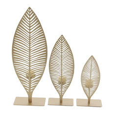 Modern Iron Cut-Out Leaves Votive Candle Holders, 3-Piece Set, Gold