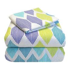 Heavyweight 100% Cotton Flannel Sheet Set Twin XL, Morning Diamonds