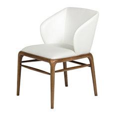 Modrest Kipling Modern Cream And Walnut Dining Chair