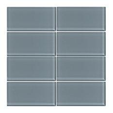 "3""x6"" Cadet Gray Glass Subway Tile, Set of 8"