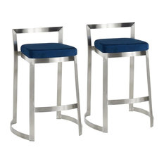 Lumisource Fuji DLX Contemporary Counter Stool, Stainless Steel and Blue Velve