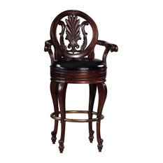 Niagara Bar Stool With Round Back and Leather Seat