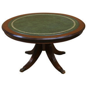 Mahogany Finish Round Coffee Table with Green Leather Top