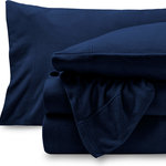 Bare Home - Micro Fleece Cozy Hypoallergenic Sheet Set, Dark Blue, Split King - Bare Home premium sheets are made with an extra soft microfleece material that is wrinkle, fade, pill and shrink resistant. Microfleece is great for wicking away moisture and humidity, as well as being lightweight and breathable, keeping your body at the right temperature all year long. Feel the difference in Bare Home premium cozy microfleece sheets, it's like sleeping with the softest baby blanket.