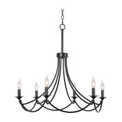 Traditional Chandelier, Matte Black Frame With Curved Arms, 6 Candelabra Lights