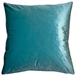 "Pillow Decor Ltd. - Pillow Decor - Corona Velvet Throw Pillow, Aqua, 19""x19"" - The 19x19 inch Corona Aqua Blue Velvet Pillow combines the warmth and richness of a velvet fabric with the breathtaking beauty of a glacier blue. The result is a sophisticated and inviting pillow that will draw you in like a cool pool on a hot day."