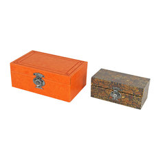 Box With Faux Leather Covers, 2-Piece Set