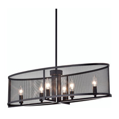 Aludra 6-Light Oil Rubbed Bronze Oval Metal Mesh Shade Dining Room Chandelier