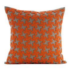 """Orange Terracota, Orange 20""""x20"""" Silk Throw Pillows Cover"""