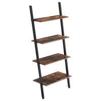 Rustic Ladder Style Iron Bookcase With 4 Wooden Shelves, Brown/Black