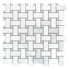"""12""""x12"""" Glass/Marble Mosaic Cross White, Crystal, Set of 10"""